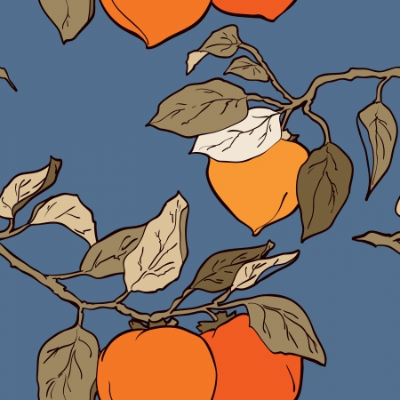 new year tree: persimmon seamless pattern Asian Traditional Painting