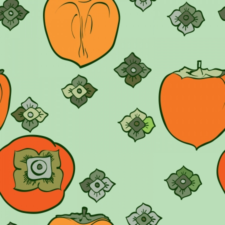 persimmon: persimmon seamless pattern Asian Traditional Painting