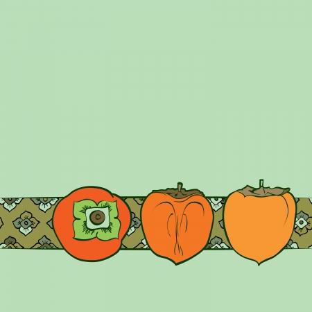 caqui: persimmon seamless pattern Pintura Tradicional Asian Ilustra��o
