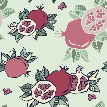 exotic fruit: pomegranate seamless pattern background