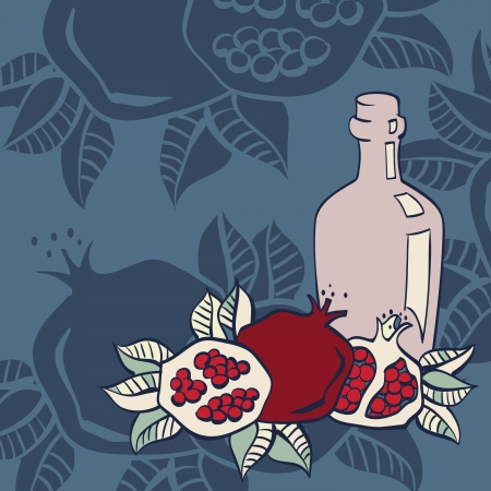 israel agriculture: Pomegranates seamless background, Vector Illustration