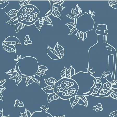 pomegranate juice: Pomegranates seamless background, Vector Illustration