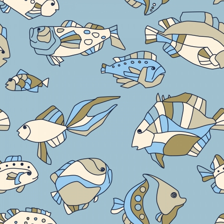 seamless pattern aquarium fish background Vector