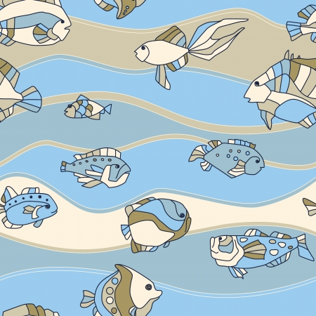 seamless pattern aquarium fish background Illustration