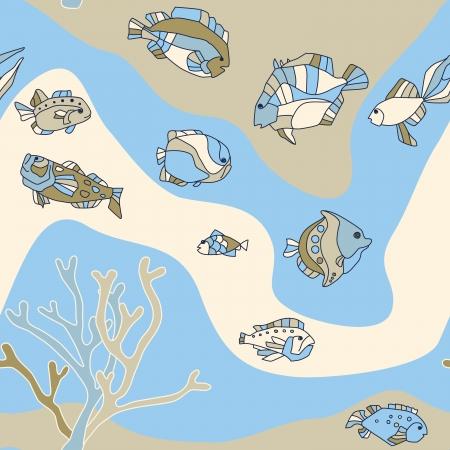 aquatic bird: seamless pattern aquarium fish background Illustration