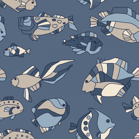 seawater: seamless pattern aquarium fish background Illustration