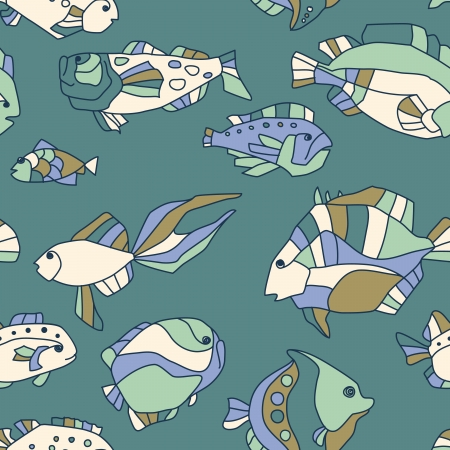 seamless pattern aquarium fish background Vector