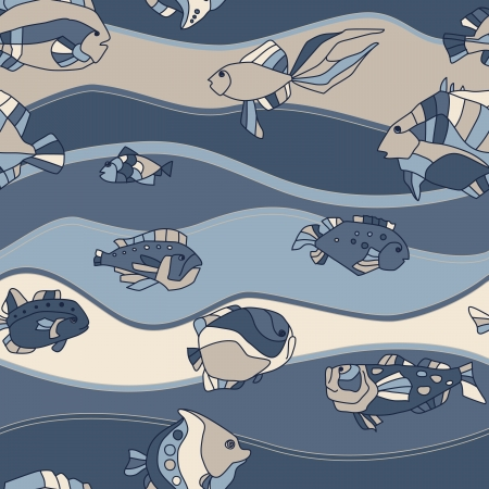 small fishes: seamless pattern aquarium fish background Illustration