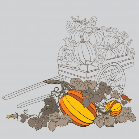 pumpkins in wagon, with fall autumn colors Stock Vector - 14676001