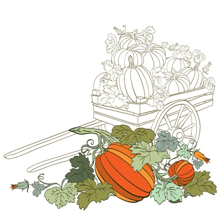 yield: pumpkins in wagon, with fall autumn colors