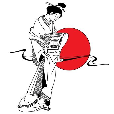 Japanese kimono girl: Cô gái geisha Nhật Bản trên nền của mặt trời đỏ