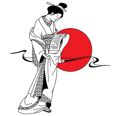 Japanese geisha girl on the background of the red sun Vector