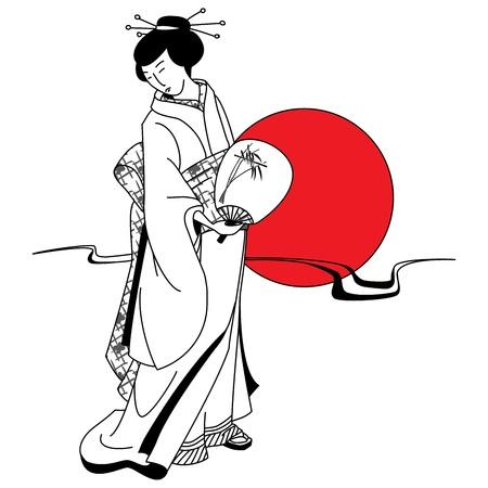donna giapponese: Geisha ragazza giapponese sullo sfondo del sole rosso Vettoriali