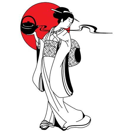 geisha kimono: Japanese geisha girl on the background of the red sun