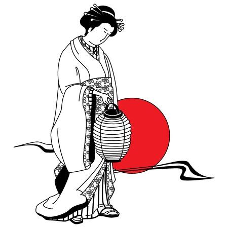 geisha kimono: Japanese geisha girl on the background of the red sun