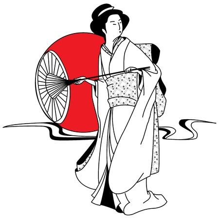 Japanese geisha girl on the background of the red sun Stock Vector - 14774158