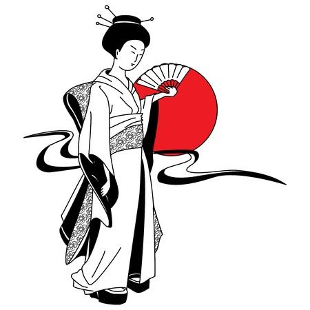 geisha girl: Japanese geisha girl on the background of the red sun