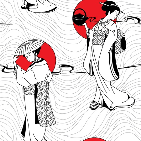 Japanese geisha girl seamless pattern 向量圖像