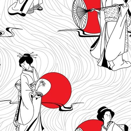 Japanese geisha girl seamless pattern Vector