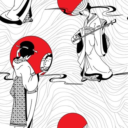 geisha kimono: Japanese geisha girl seamless pattern Illustration