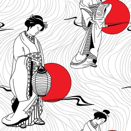 Japanese kimono girl: Cô gái geisha Nhật Bản mô hình liền mạch