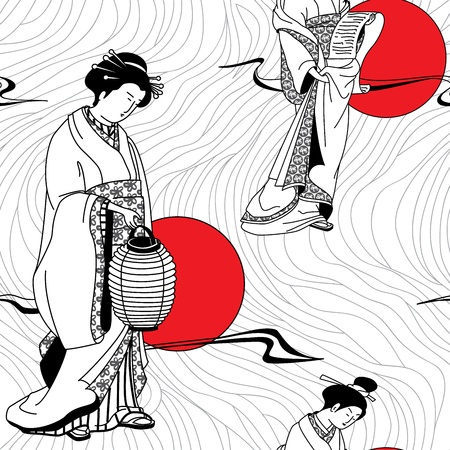 japanese kimono: Japanese geisha girl seamless pattern Illustration