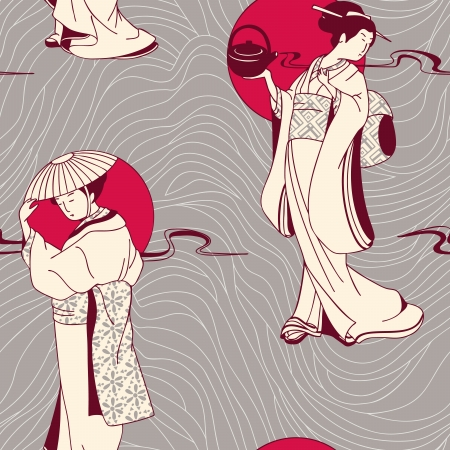 Japanese geisha seamless pattern Stock Vector - 15183652