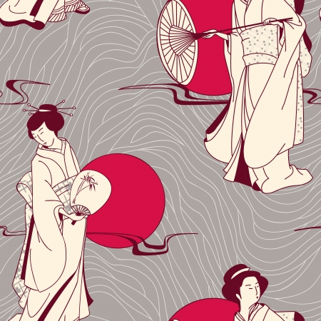Japanese geisha seamless pattern