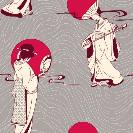 Japanese geisha seamless pattern Vector
