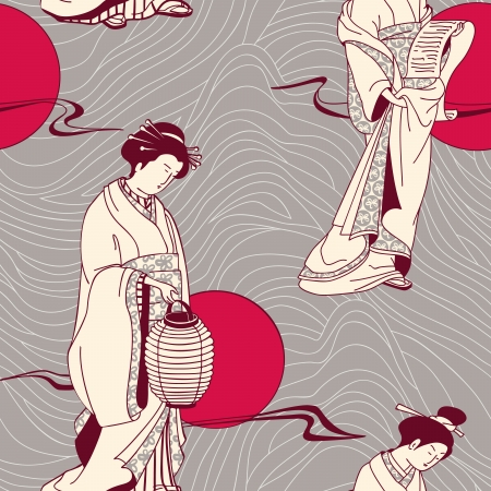woman reading book: Japanese geisha seamless pattern