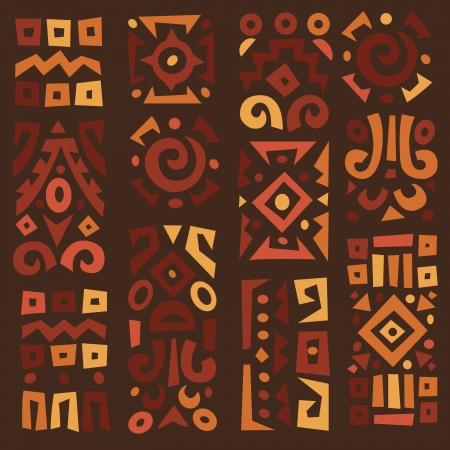 south east asia: Elementi geometricamente tipici etnici africani Vettoriali