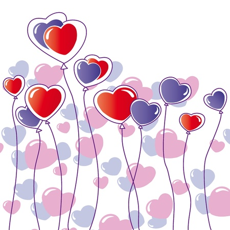 greeting card with hearts and balloons Vector