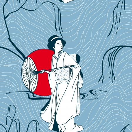 vector background with a japan girl - seamless pattern