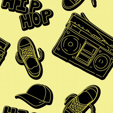 boom box: hip hop music seamless pattern