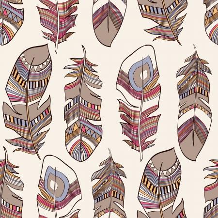 plumage: vector seamless ethnic Indian feathers plumage  pattern Illustration