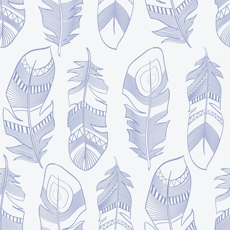 vector seamless ethnic Indian feathers plumage  pattern Vector