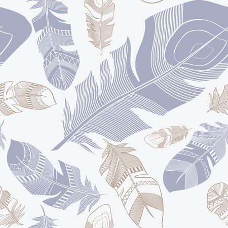plumage: vector seamless ethnic Indian feathers plumage  pattern Illustration