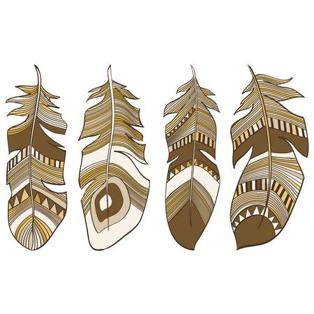 plumage: Ethnic Indian feathers plumage background Illustration