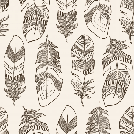 vector seamless ethnic Indian feathers plumage  pattern Stock Vector - 16889970