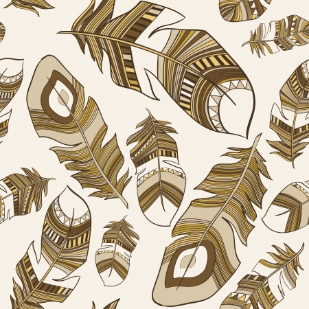 african art: vector seamless ethnic Indian feathers plumage  pattern Illustration