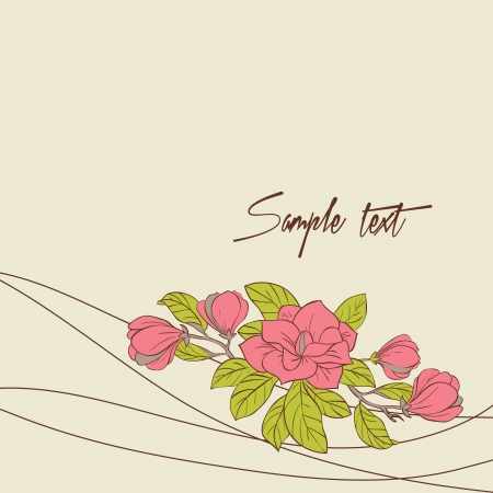 background with magnolia for your card or invitation Vector