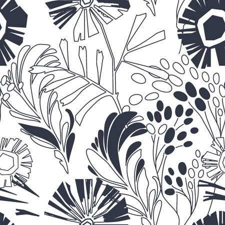 Vintage floral seamless pattern with hand drawn flowers Illustration