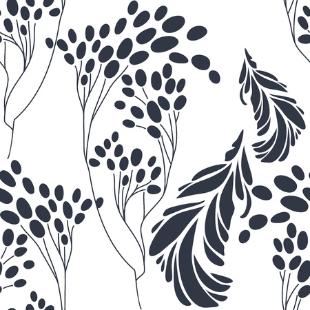 Vintage floral seamless pattern with hand drawn flowers Vector