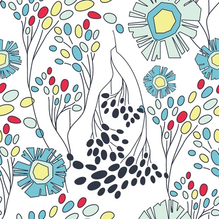 modern garden: art flower background. Seamless floral pattern