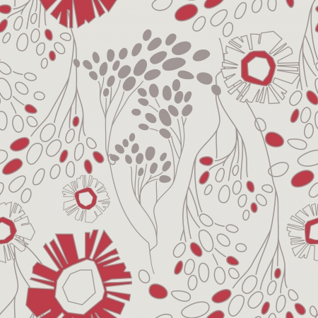 viburnum: retro floral seamless pattern with flowers
