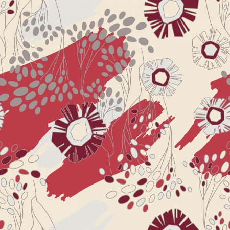 Seamless Floral Pattern With Flowers On Monochrome Background
