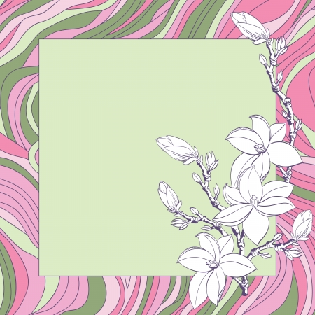 Greeting card with pink magnolia flowers Stock Vector - 17058285