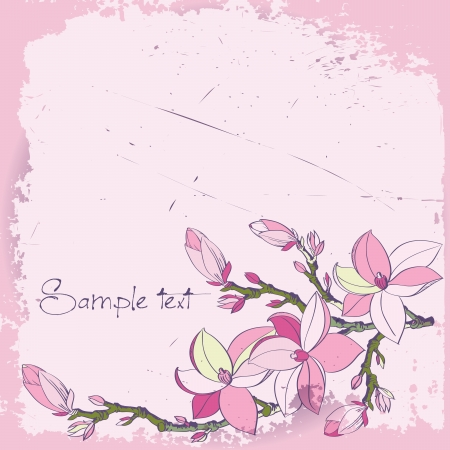 background with magnolia flowers for card or invitation Stock Vector - 17058286