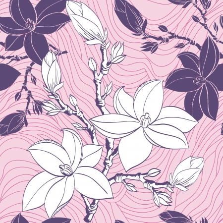 Floral seamless pattern with drawing magnolia flowers Vector