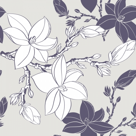 Beautiful seamless vintage wallpaper with magnolia flower Stock Vector - 17058262